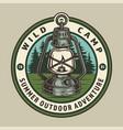vintage summer camping round emblem vector image vector image