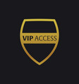 vip emblem with shield luxury vector image vector image