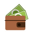 wallet with cash symbol isolated vector image vector image