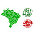 welcome composition of map of brazil and scratched vector image vector image