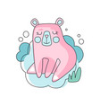 funny pink and blue cartoon of bear vector image