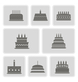 monochrome icons with birthday cakefor vector image
