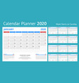 2020 year calendar holiday event planner week vector image vector image