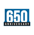 650th anniversary icon birthday logo vector image vector image