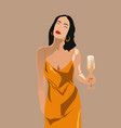 adult woman in yellow dress with red lips nails vector image vector image