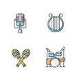 band musical instruments rgb color icons set vector image