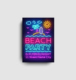 beach party invitation card design template vector image