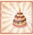 birthday card with cake tier candle and cherry vector image vector image