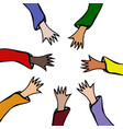 cartoon hands stretch towards each other arms vector image vector image