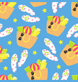 cartoon seamless pattern summer background beach vector image vector image