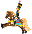Cartoon soldier riding a horse vector image