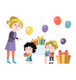 character woman celebrate mother day children vector image vector image