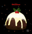 christmas pudding on black glowing background vector image vector image