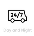 day and night delivery truck icon editable line vector image vector image
