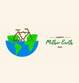 earth day concept of bike inside green planet vector image vector image