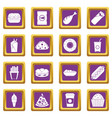 fast food icons set purple vector image vector image