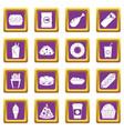 fast food icons set purple vector image