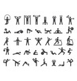 fitness symbols sport exercise stylized people vector image