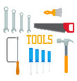 flat tools hammer screwdriver saw brush with vector image vector image