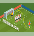 free kick isometric background vector image vector image