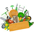gardening concept with wooden plank vector image vector image