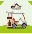 golf club tournament car and bag on field vector image vector image