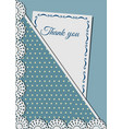 greeting card decorated with lace on background vector image vector image