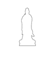 guanyin statue path on white background vector image vector image