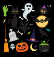 halloween elements icons set vector image vector image