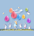happy easter card with bunny girl and egg vector image vector image