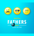 happy father s day banner with yellow emoticons vector image vector image