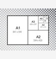 iinternational a series paper size formats vector image vector image