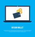 laptop screen with bitcoin crypto wallet vector image vector image