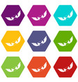 love letter icon set color hexahedron vector image vector image