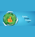 man with backpack eco city travel concept banner vector image vector image