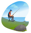 man with rod sitting on chair fishing hobby vector image vector image