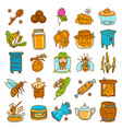 propolis icons set hand drawn style vector image