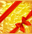 red ribbon and bow on bright gold foil texture vector image