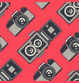 retro seamless pattern with vintage cameras vector image