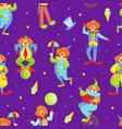 seamless pattern with funny circus clowns circus vector image vector image