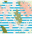 seamless pattern with silhouette tropical vector image