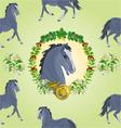 Seamless texture black Horse head of stallion vector image vector image