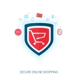 Secure shopping and safe e-cmmerce flat icons vector image