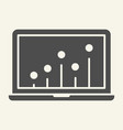 seo graph solid icon chart on laptop vector image vector image