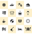 set black travel and tourism icons vector image