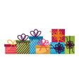 set gift boxes present icon vector image