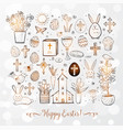 set of easter doodles on white glowing background vector image vector image