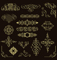 set of golden vintage design elements vector image vector image
