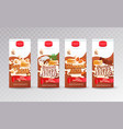 set of milk tetra packs with different tastes vector image vector image
