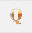 silver and gold font symbol alphabet letter q vector image